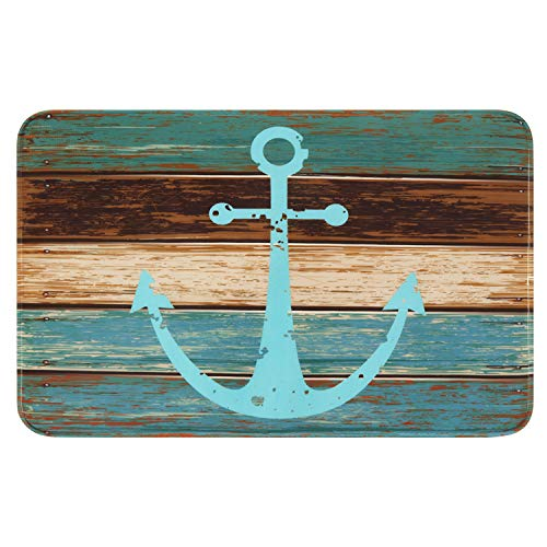 "Bathroom Rug, Uphome Vintage Retro Nautical Anchor Flannel Microfiber Foam Bath Mat - Turquoise and Brown Non-slip Soft Absorbent Bathroom Mat Kitchen Floor Carpet (20""W x 31""L)"