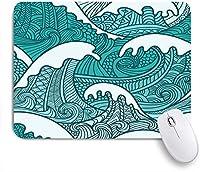 ECOMAOMI 可愛いマウスパッド 海の波のアートプリント 滑り止めゴムバッキングマウスパッドノートブックコンピュータマウスマット