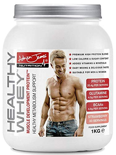 Adrian James Nutrition - Healthy Whey Protein Powder for Men & Women, Premium Grade Whey Protein Shake with BCAAs, Glutamine, Magnesium, Zinc, Vitamin D & B6, Strawberry Flavour, 33 Servings, 1 kg