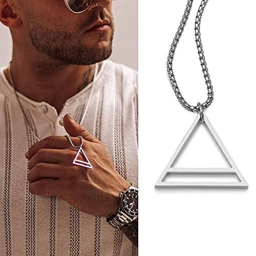 Collar Collar Popular para Hombre, Colgante Triangular Cuadrado Entrelazado, Colgante Masculino De Acero Inoxidable, Collares Geométricos Modernos De