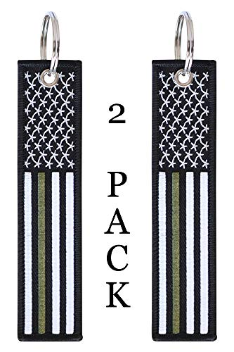 American Flag Keychain Tag with Key Ring and Carabiner - Military - Park Ranger - Border Patrol - Keys, Cars, Motorcycles, Backpacks, Luggage, and Gifts - EDC (Thin Green Line)