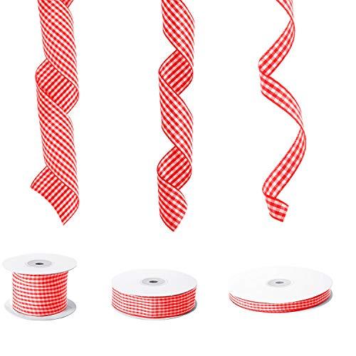3 Rollos Cintas a Cuadros de Navidad Cinta de Guinga Cinta de Envoltura de Regalo a Cuadros para Favores Decoración de Fiesta Regalo de Manualidades de Navidad (Rojo y Blanco)