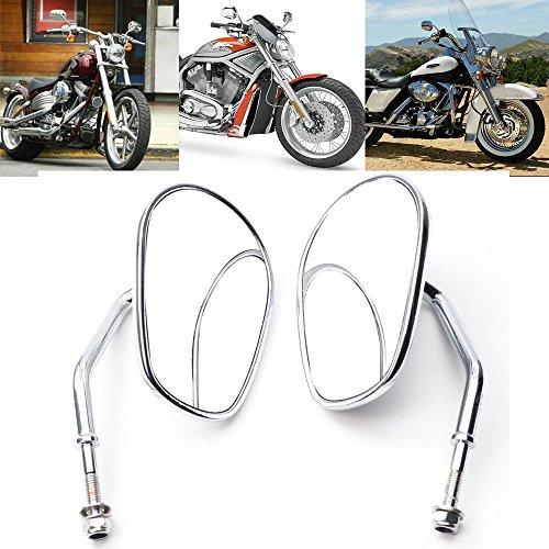 Anzene Espejos retrovisores cromados de la más alta calidad para Harley Davidson Flstc Fxdb Dyna Fxdf Flstf 8mm (Cromo)