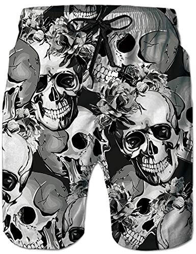 Loveternal Hawaii Badeshorts Bunt Sommer Schwimmhose Herren 3D Skull Badehose für Männer XL
