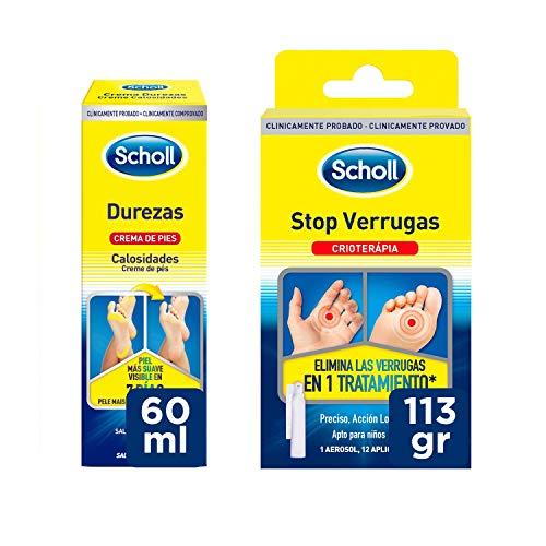 Scholl Tratamiento Stop Verrugas Comunes y Plantares + Crema de Pies para Durezas 60ml