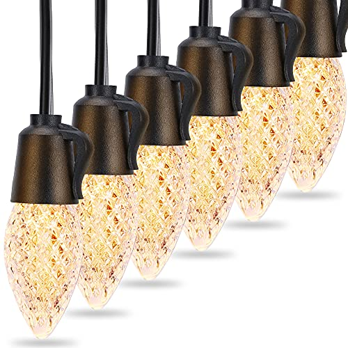 Outdoor String Lights, Gusodor 48ft Shatterproof IP65 Waterproof LED String Lights with 20pcs C35 1W Bulbs Commercial Grade Dimmable Hanging Light for Patio Cafe Garden Bistro Backyard Balcony Party