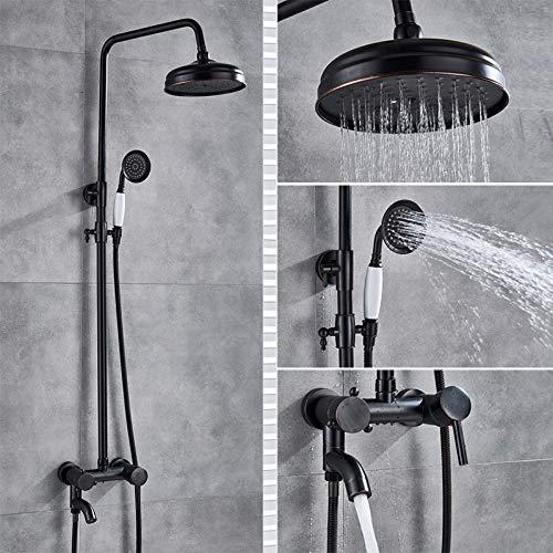 PLUIEX Sistema de Ducha Juego de Ducha de baño de latón Antiguo Grifo de Ducha de baño Grifo Mezclador 8 Cabezal de Lluvia Juego de Ducha de baño Grifo de bañera Montado en la Pared, Bronce Negro C4