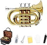 EastRock - Trompeta de bolsillo con boquilla estándar para trompeta 7C, funda rígida, co...