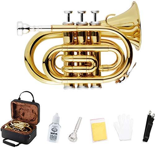 EastRock Pocket Trompete Messing Bb Gold Lack Mini Trompete mit 7 C Mundstück, Hartschalenkoffer, Gurt, weiße Handschuhe, Reinigungsset für Studenten, Anfänger