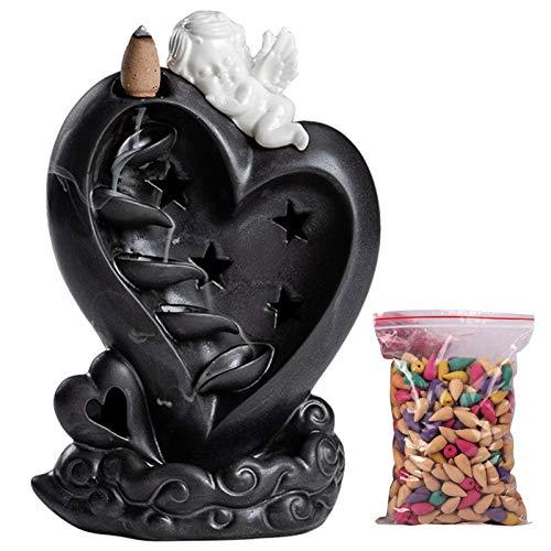 Amor Insence - Quemador de incienso de reflujo, de cerámica, cascada, soporte para incienso para sala de estar, decoración, difusor de aromaterapia, con 50 conos de incienso, luz LED