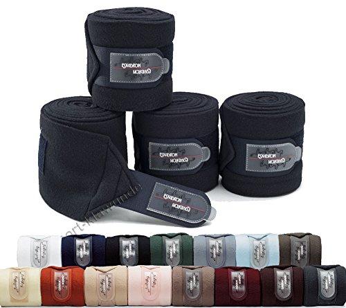 Eskadron Fleece Bandagen, Arbeitsbandagen 4er Set, Fleecebandagen Größe Warmblut, Farbe schwarz