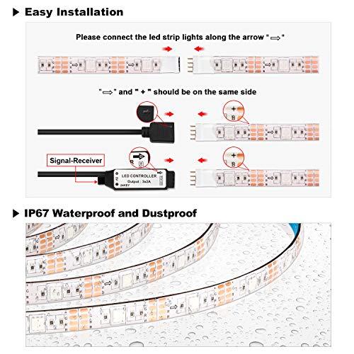 LED TV Lightstrip 2.2M, OMERIL Bandes LED 16 Couleurs et 4 Modes Rubans LED RGB 5050 Alimenté par USB, Bande Lumineux Etanche avec Télécommande pour 40