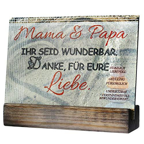 Feiner-Tropfen Schiefertafel 20x15 cm groß Spruch für Mama & Papa Beste Kinder Geschenke an die Eltern Sand Bedruckt VF