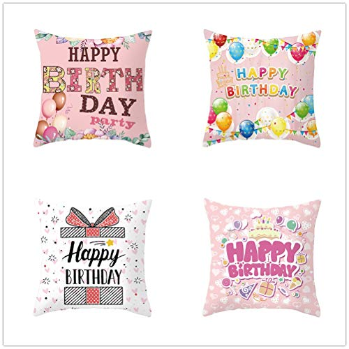 Set of 4 Pcs Throw Pillow Case Cushion Covers Happy Birthday Balloons Velvet Soft Superfine Fiber Square Decor Throw Pillowcases for Living Room Sofa Car with Concealed Zip E714 60x60cm/23.4x23.4in
