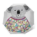 Paraguas Plegable Automático Impermeable Camisa Poligonal Koala Triángulos angulares, Paraguas De Viaje Compacto Prueba De Viento, Folding Umbrella, Dosel Reforzado, Mango Ergonómico