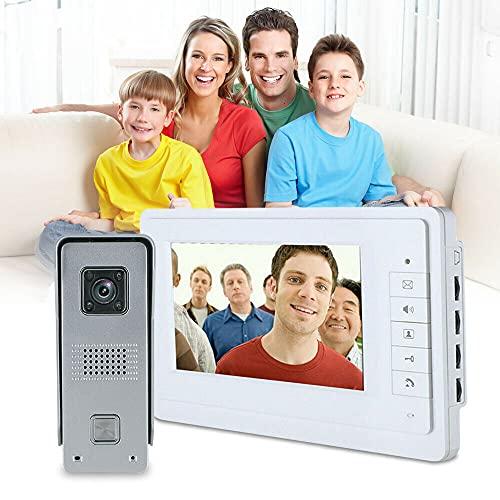 Videoportero de 7 pulgadas con monitor de vídeo, portero, sistema de intercomunicación con cámara, con apertura de puerta, con cable, para casa familiar, oficina