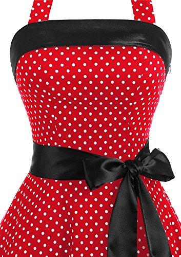 Timormode 10212 Vestido De Vintage 50s Cuello Halter Elegante Mujer Pegueña Rojo Blanco 3XL