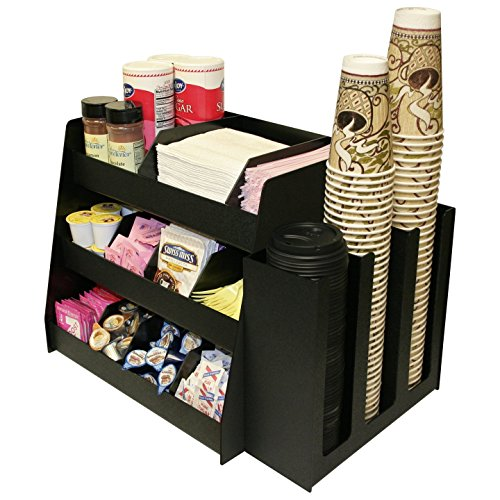 PC 1000 COMBO: 2 Piece Combo Coffee Condiment Organizer,3 Column Cup, Lid Holder.for One Great Price ! A Very Professional Presentation. Has 8 Extra Tall Shelf Dividers