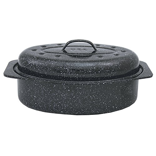 Granite Ware F6106-2 Covered Oval Roaster, 13 inches, Black
