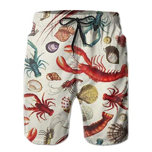 DLing Herren-Badehose Quick Dry Summer Holiday Beach Shorts Beachwear aus Hummer und Muschel,XXL