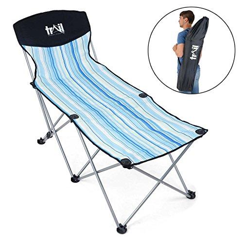 Folding Garden Sun Lounger, Portable Compact Lightweight Recliner, Adjustable Backrest, Camping Beach Outdoor, Shoulder Bag Included