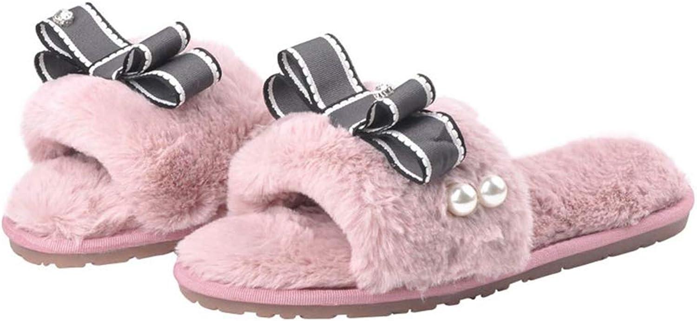 Winter Ribbon Bowtie Fur shoes Woman Pearl Beading Home Slippers Female Flats Heel Warm Plush Anti-Slip Slides