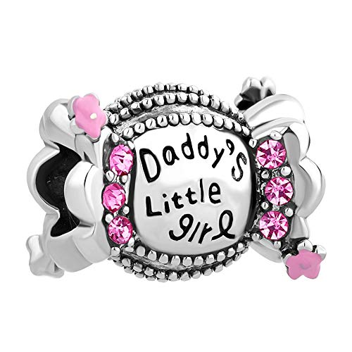 QueenCharms Daddy's Little Girl Charm Sweet Candy Beads Fit European Charm Bracelets