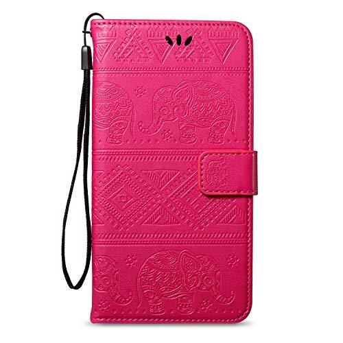 Surakey Cover Huawei Honor 6C Pro/V9 Play a Libro, Goffratura Elefante Portafoglio Flip Cover per Huawei Honor 6C Pro Pelle Wallet Custodia con Porta Carte,Chiusura Magnetica,Funzione Stand,Rosa Rossa