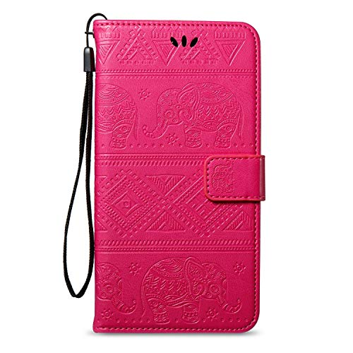 kompatibel mit Galaxy Grand Neo Plus Hülle,Tasche für Galaxy Grand Neo Plus Schutzhülle Leder Tasche Flip Case,Prägung Elefant PU Lederhülle Brieftasche Flip Hülle Kunstleder Wallet Case,Hot Pink