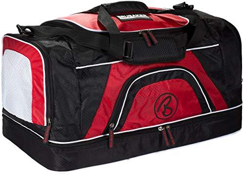Brubaker \'Big Base\' XXL Sporttasche 90 L mit großem Nassfach als Bodenfach + Schuhfach - Schwarz/Rot