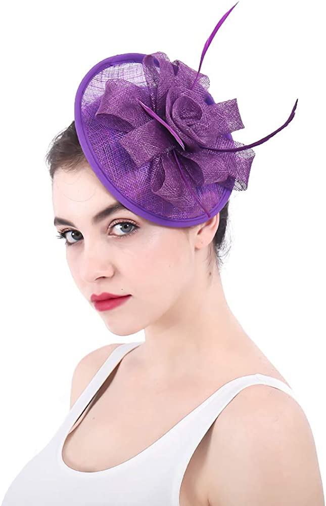 YONQUIL Elegant Ladies Sinamay Fascinators hat Wedding Accessories SYF208