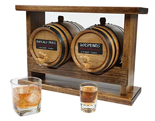 Double Barrel Racking System with Two American White Oak Barrels (2 liter) for aging Whiskey Rum Scotch or Cocktails with Chalkboard Front | Perfect Bourbon Gift for Men by Thousand Oaks Barrel Co.