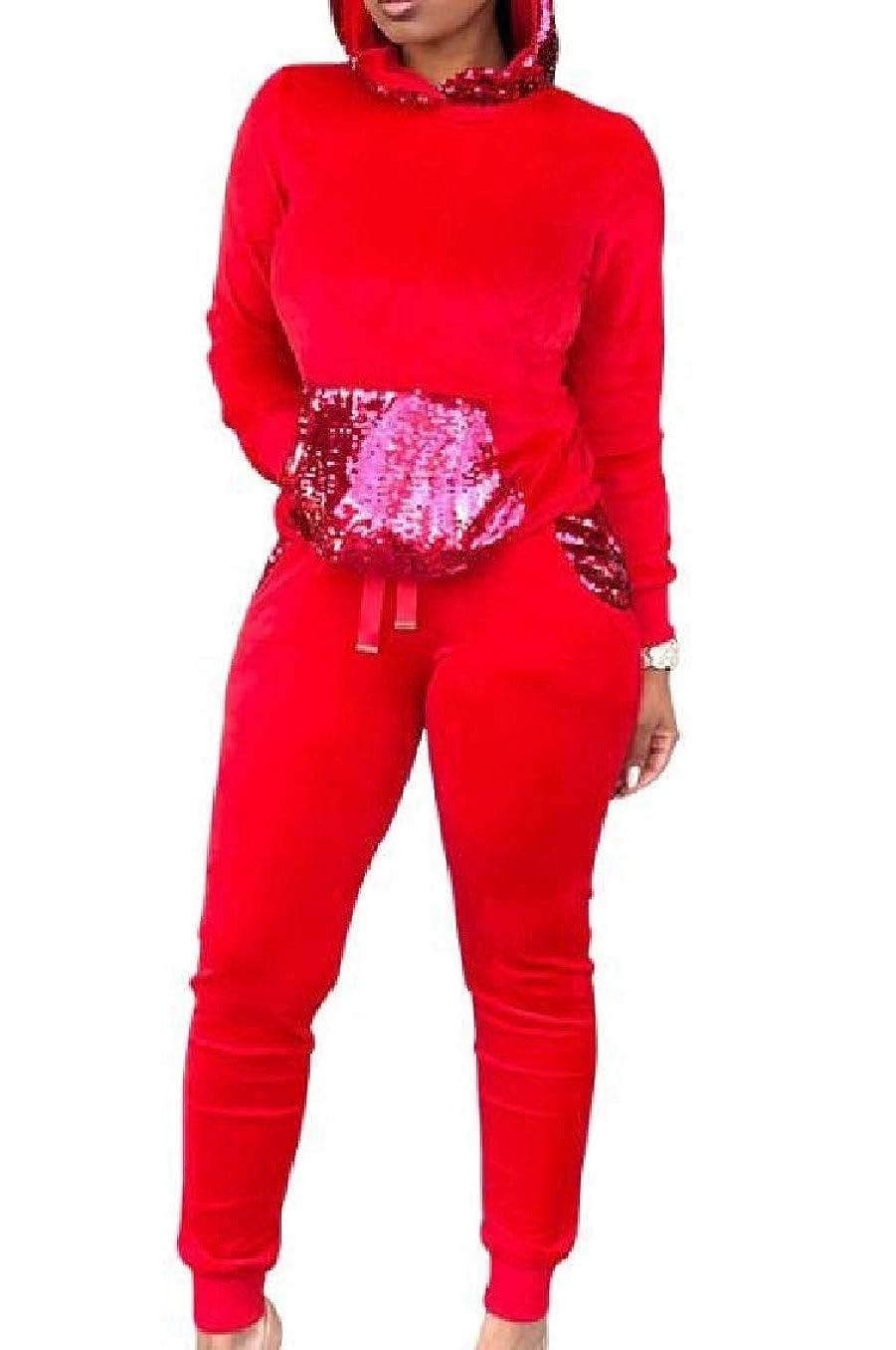 ワイプアシュリータファーマン忌避剤GodeyesW 女性のカジュアルきらめくロングスリーブフードトラックスーツトップスポーツバギーパンツアウト