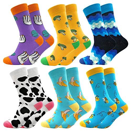 Bunte Socken Crew Lustige Fantastisch Muster Glücklich Socks Baumwolle Strümpfe Packung 6 Paar(601)