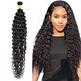 30 Inch Hair Brazilian Deep Wave Bundles Virgin 100% Human Hair Extension Weft Curly Hair Soft and Silky Single Bundle Natural Color