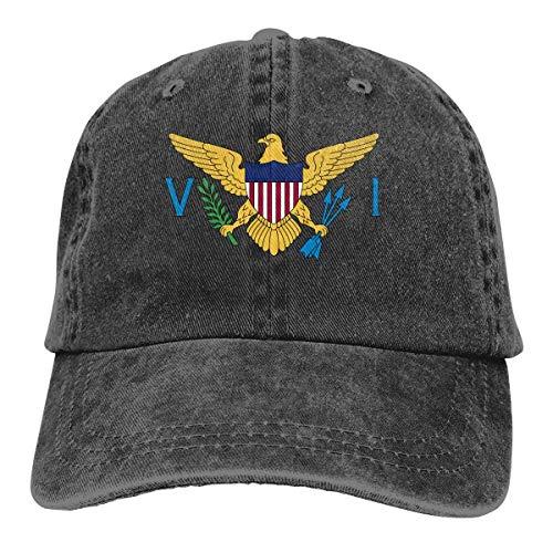 Hoswee Unisex Kappe/Baseballkappe, A Flag of US Virgin Islands Men/Women Washed Adjustable Baseball Cap Jeans Back Closure Dad Caps