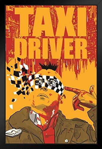 Taxi Driver Minimalist Travis Bickle Movie Black Wood Framed Art Poster 14x20