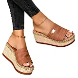 KaO0YaN Estate 1 parola pantofole spessore fondo pendio con grandi dimensioni sandali moda usura brown_EU 37fashion casual scarpe aperte
