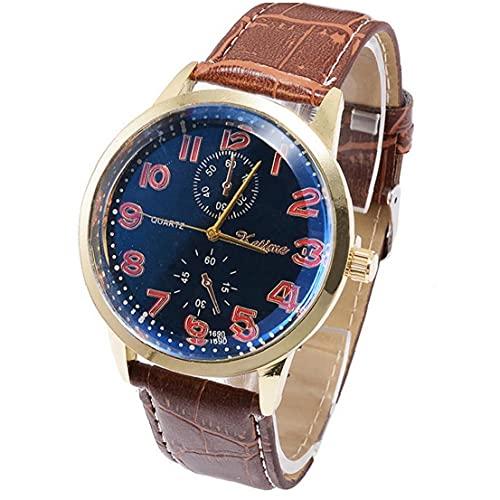 FeelMeet Reloj de Cuarzo del Reloj análogo de los Hombres del brazal de Estilo Simple Pulsera Multi usos Reloj teléfono Celular de botón Incluidas (Brown, Dial Negro)