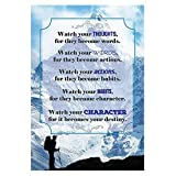 Watch your THOUGHTS, for they become words. Motivational Quote Poster for Office Staff College Athletes Teams School Classrooms and Home - 13x19 in Inspirational Paper Poster Proudly Made in the USA