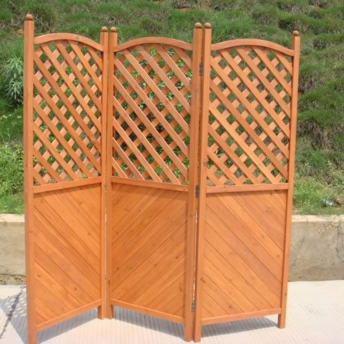 Garden | Patio Screen 1.8m H x 1.8m L High Quality Wooden Half Latticed Folding Screen with 3 Hinged Panels