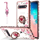 CEUTUE for Samsung Galaxy S10 Case, Glitter Diamond Floral Butterfly Clear Back Soft TPU Silicone Case Women Bling Shiny Rhinestone Ring Grip Holder Stand for Galaxy S10 Case (Rose Gold)