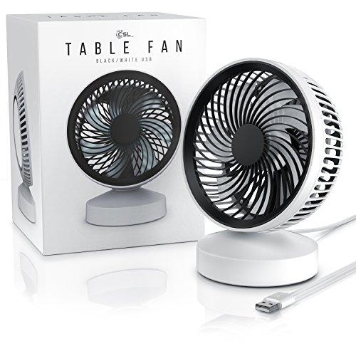 CSL - Tischventilator Ventilator mit Standfuß - Leises Betriebsgeräusch - nur max. 45dB - Ein Aus-Schalter - Energie-sparend nur 3,5W - Ca. 25 Grad neigbar einstellbarer Winkel - schwarz weiß