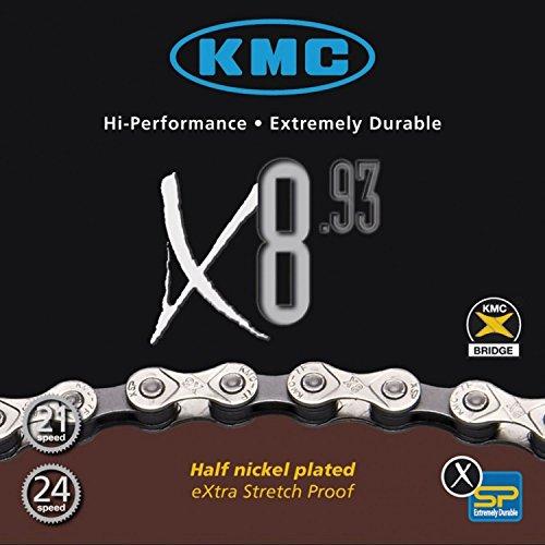 KMC X-8-93 - Catena 116 maglie, 8 velocità, colore: Argento/Grigio, Grigio (Argento/Grigio), unisize