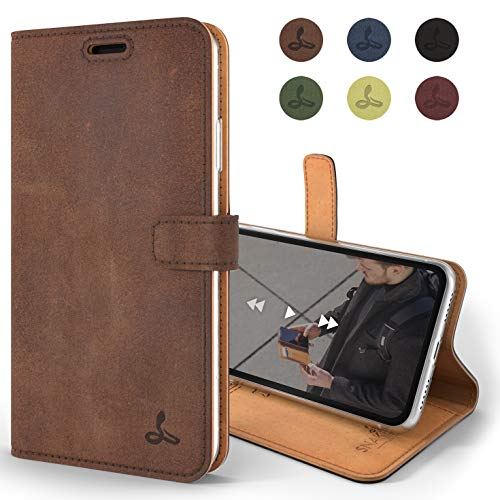Snakehive iPhone XR Wallet Case, Luxury Genuine Leather Wallet with Viewing Stand and Card Slots, Flip Cover Gift Boxed and Handmade in Europe for Apple iPhone XR (Brown)