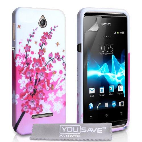 Yousave Accessories Custodia in Silicon Gel per Sony Xperia/Xperia E, Design Floreale Ape, Rosa/Bianco