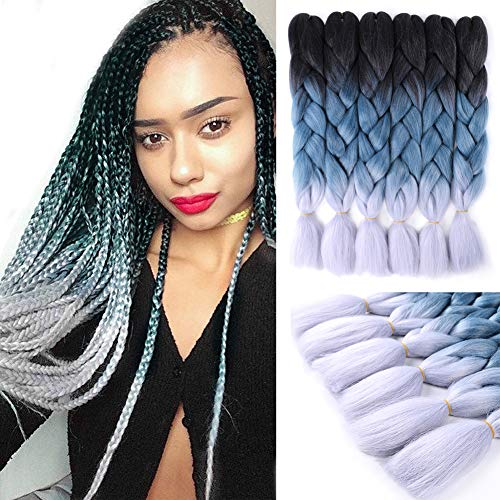Jumbo Braiding Hair Extensions 24 Inch 6 Packs Ombre Synthetic Hair Crochet Braids Kanekalon Long Jumbo Braids For Box Twist Crochet Hair (Black/Grey Blue/Silver Grey)