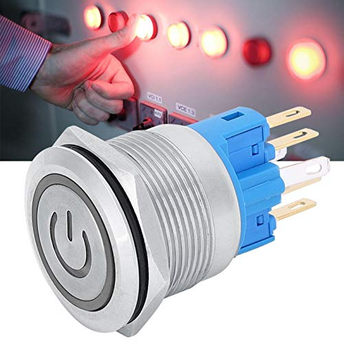 Botón de reinicio, interruptor de botón de metal de alto rendimiento resistente y funcional, centro de mecanizado de fácil operación de acero inoxidable para(white)