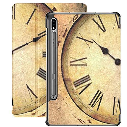 Galaxy Tablet S7 Plus Custodia da 12,4 pollici 2020 con supporto per penna S, orologio vintage con numeri romani Custodia protettiva per supporto sottile stile sgangherata per Samsung