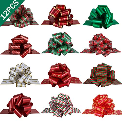 """PintreeLand 12PCS Christmas Gift Wrap Pull Bows with Ribbon 5"""" Wide Wrapping Accessory for Xmas Present, Gift, Florist, Bouquet, Basket Decoration, Easy to Assemble"""